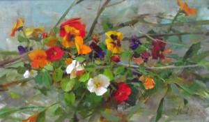 "Richard Schmid ""Pansy Sketch,"" 12 x 20"" oil on canvas."