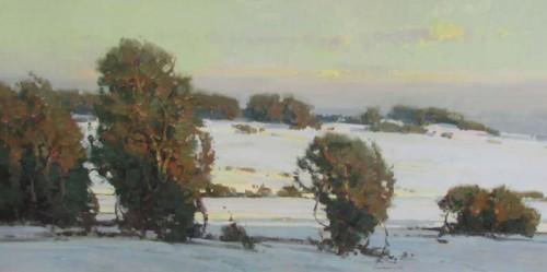 """Scott Christensen, Winter Light, 20 x 20"""", oil."""