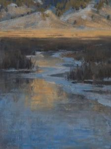 "Jennifer Hoffman. ""Flat Creek Glow."" 16x12"" Oil"
