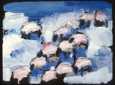 Theodore Waddell Winter Sheep Drawing #2  Oil on Paper 22 x 30 inches