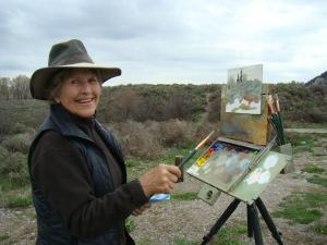 Dee Lee paints on location.