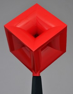 """John Simms, """"Red Imploding Cube."""" 18"""" square."""